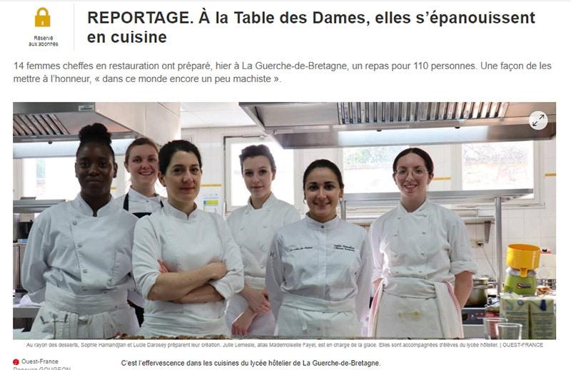 """Reportage """"A la table des Dames"""" avec Mlle Fayel, Ouest France"""