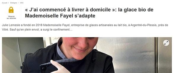 Mlle Fayel livre ses glaces à domicile pour s'adapter aux contraintes imposées par la crise sanitaire.