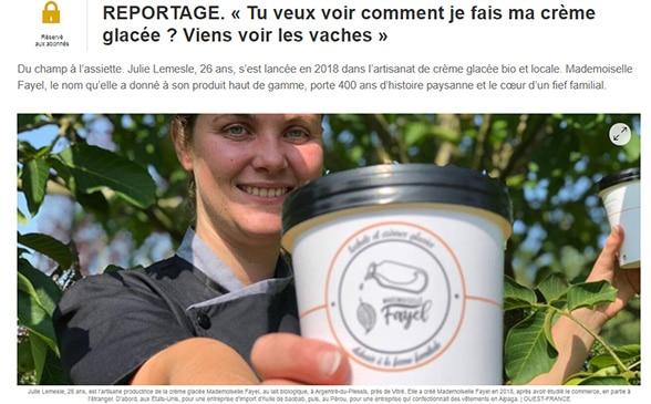 Reportage sur la fabrication des crèmes glacées bio de Mlle Fayel, à la ferme d'Argentré-du-Plessis